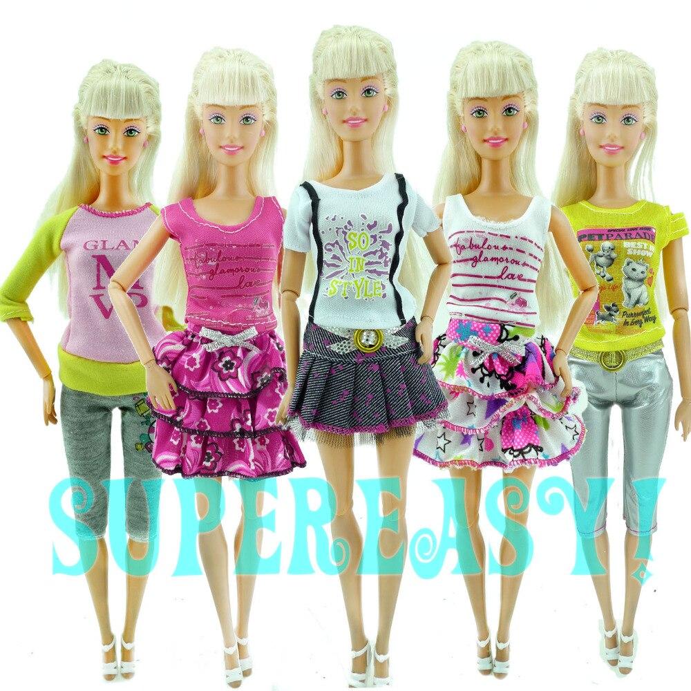 15pcs A Lot 5 Sets Outfits Shorts Pants Skirts Fashion Style Clothes 10 Pairs Random Shoes