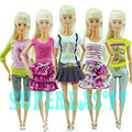 15Pcs A Lot = 5 Sets Outfits Shorts Pants Skirts Fashion Style Clothes + 10 Pairs Random Shoes For Barbie Doll Kurhn Kids Gift