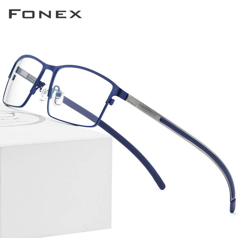 FONEX Titanium Alloy Optical Glasses Men Ultralight Square Myopia Eyeglasses Frame Prescription Korean Screwless Eyewear 982