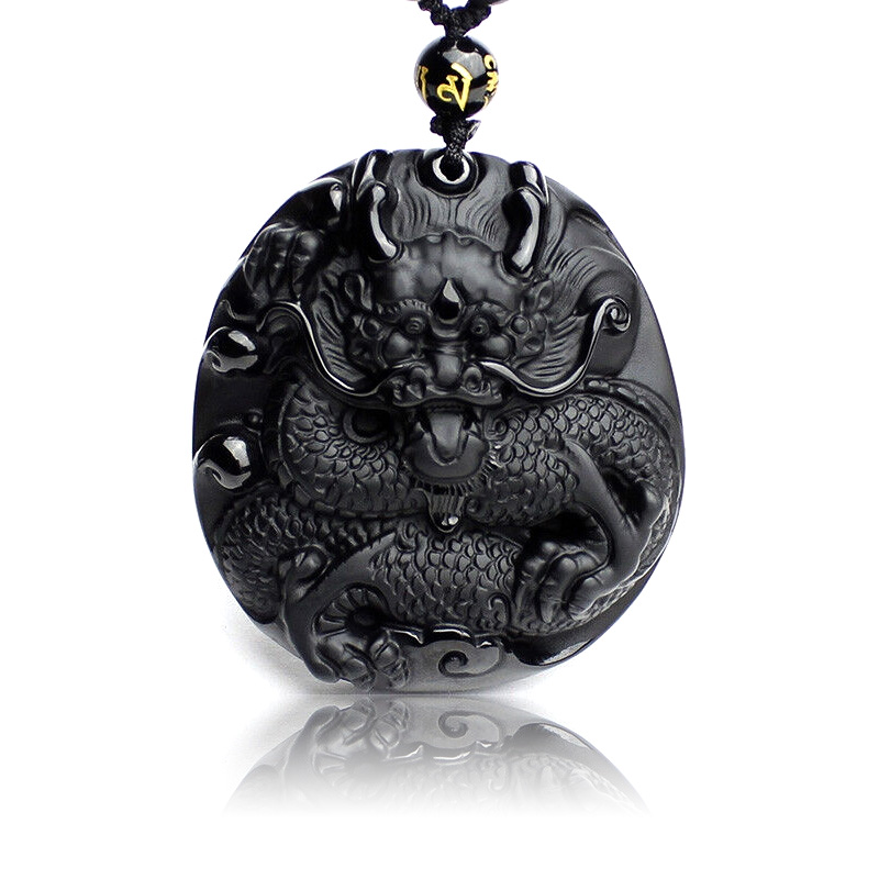 Natural Black Obsidian Carved Big Round Dragon Pendant Necklace Fashion Men Women Lucky Pendant Large Raptors Evil Accessories