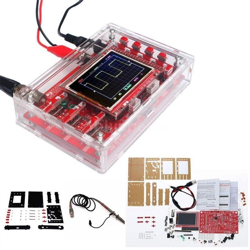 DIY DSO138 2.4 Inch TFT Soldered Pocket-size Digital Oscilloscope 12 Bit Probe US Plug Power Oscilloscope Kit Parts new 1pcs dso138 2 4 tft digital oscilloscope kit diy parts 1msps with probe