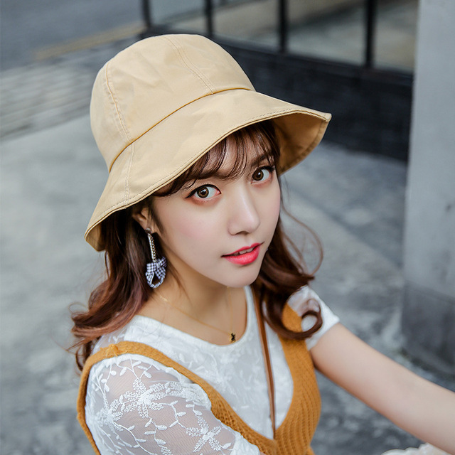 725a1eb1d13edd HT1588 2018 New Fashion Men Women Hats for Summer Packable Solid Plain Fisherman  Fishing Sun Hats Packable Panama Bucket Hat Cap