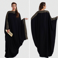 Free Shipping 2015 High Qulity Women Muslim Black Abaya Dress In Dubai For Sale DF200