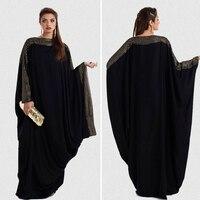 Free Shipping 2015 High Qulity Women Muslim Black Abaya Dress In Dubai For Sale DF200