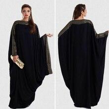 ใหม่อาหรับหลวม abaya Kaftan อิสลามแฟชั่นมุสลิมเสื้อผ้าผู้หญิงสีดำดูไบ abaya