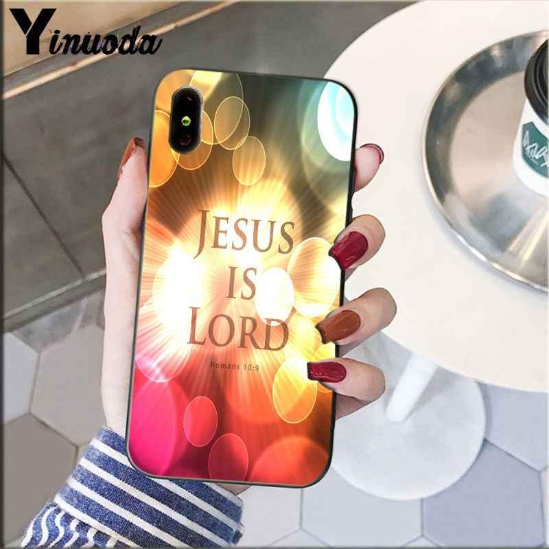 Yinuoda Ayat Alkitab Filipi Yesus Kristus Christian Silikon Hitam Ponsel Case untuk Aku 5Sx 6 7 7 Plus 8 8Plus X XS Max XR