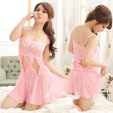 Sexy Hollow-Carved Lingerie Pink Floral Babydoll Dress Chemise Nightie XS S M