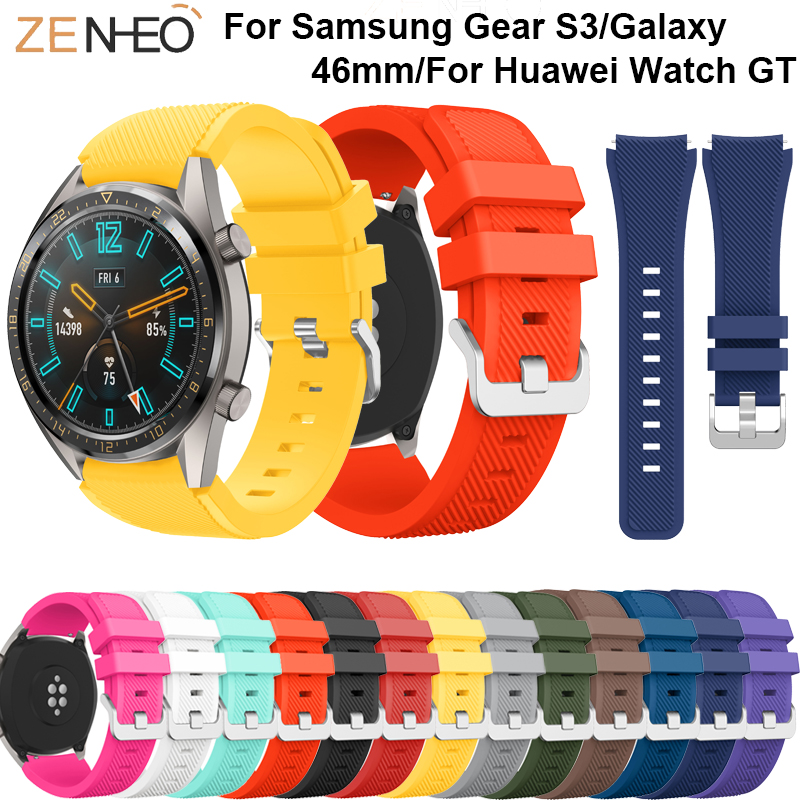 22mm For Samsung Gear S3 Frontier Classic Silicone Wrist Band For Huawei Watch GT Sport Strap Replacement Watches Bands Bracelet