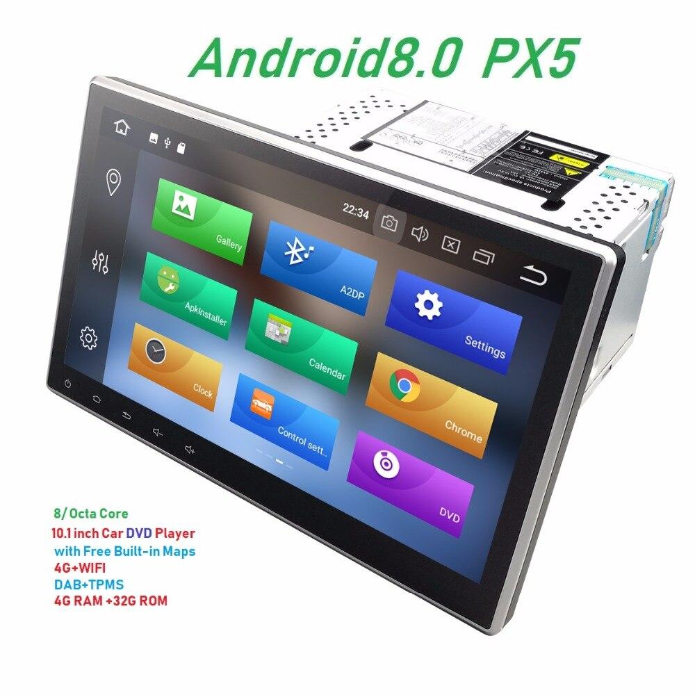 10.1 ''2 Din Universal Android 8.0 PX5 unidade de Cabeça Carro DVD Player de Rádio de Navegação GPS Bluetooth USB 4G + DAB 32G 1024*600 tela Grande