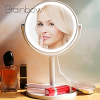 Brainbow 1PC Makeup LED Mirror White Rotate Cosmetic Mirror with Touch Dimmer Switch USB & Battery Operated Stand Table Mirror