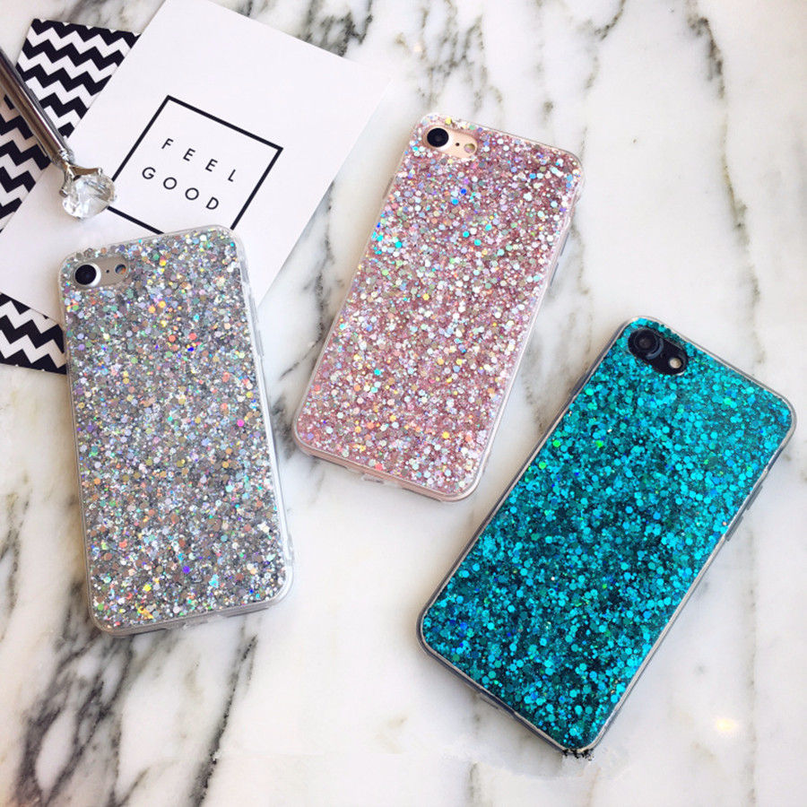 Bling Glitter Phone Iphone 6 6S Case Silicon Crystal Sequins Soft TPU Cover Fundas For Iphone 5 5S 7 8 Plus X