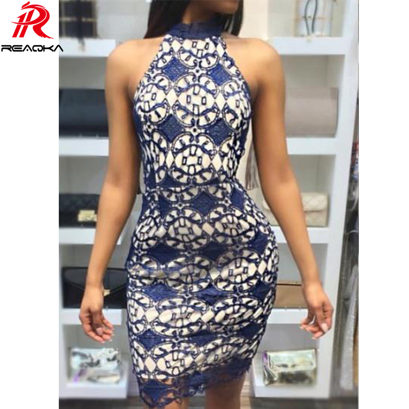 Buy Reaqka Women Elegant Wedding Party Sexy Night Club Halter Neck Sleeveless Sheath Bodycon Mini Lace Dress Short Shoulder 2018