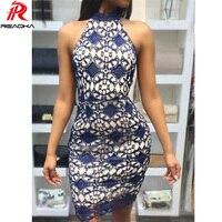 Reaqka Women Elegant Wedding Party Sexy Night Club Halter Neck Sleeveless Sheath Bodycon Mini Lace Dress Short Off Shoulder 2018