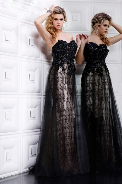 Vestidos De Fiestas Baratos Elegant Black Backless prom gown Sweetheart With Sequins Tulle Flowing vestidos   bridesmaid     dresses