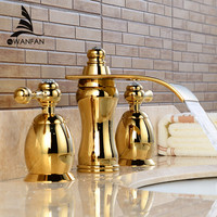 New High Quality Gold Black 3 Hole Double Handle Deck Mounted Bathroom Basin Faucet Mixer Tap