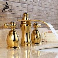 Basin Faucets Gold Bathroom Sink Crane 3 PCS / Hole Black Crystal Home Decoration Vanity 2 Switch Handle Washbasin Tap LH 16845