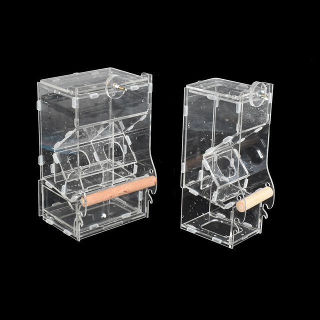 1pcs Pet Parrot Automatic Bird Feeder Cage Food Container Small Bird Anti-spilling Transparent Feeding Tool  Pigeon supplies