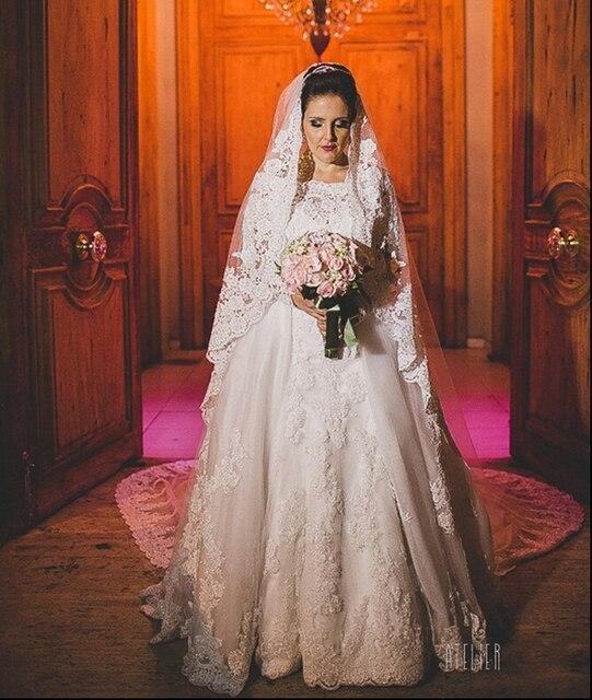2 Dua Bagian Dilepas Lengan Panjang Gaun Pengantin Muslim Putri