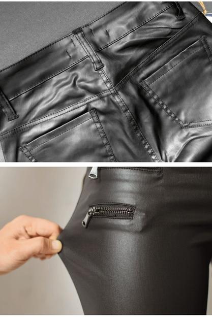 Sherhure jeans Femme cuir synthétique polyuréthane noir Pantalon Pantalon Femme Fitness Leggings taille basse Femme Skinny crayon Pantalon 5