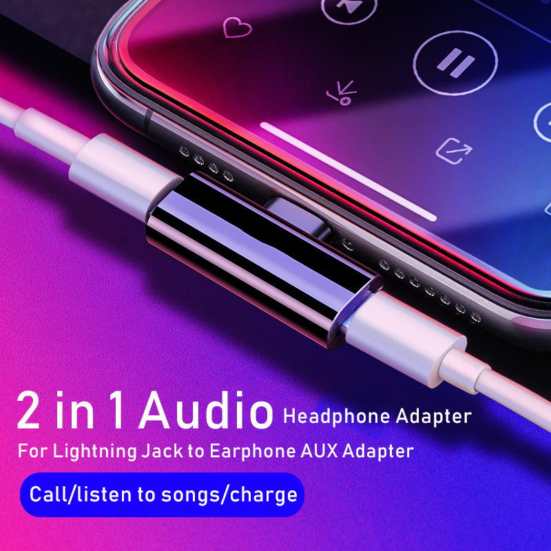 Lamorniea 2 In 1 Audio Charge Adapter For IPhone 7 8 Plus X Dual Audio Charging Headphone Earphone Adapter Mini Converter Call