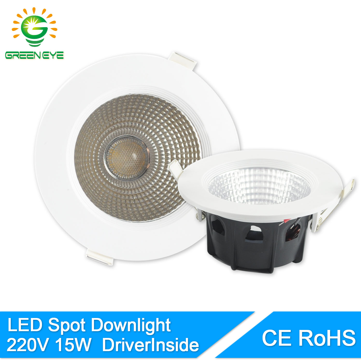 greeneye cob super bright recessed spot led downlight 15w led lamp 220v ceiling led light indoor. Black Bedroom Furniture Sets. Home Design Ideas