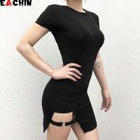 EACHIN/летнее Хлопковое платье с короткими рукавами и круглым вырезом; черные платья; повседневное элегантное облегающее платье трапециевидн...