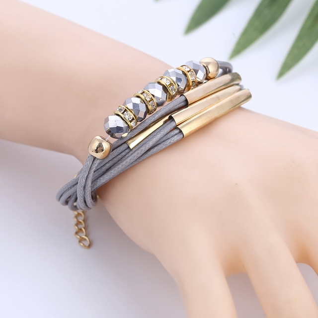 Beautiful Leather Bracelet with Beads