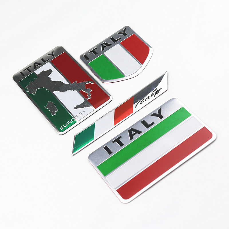Newbee 3D Aluminum Car Italian Italy Map National Flag Sticker Grill Emblem Motorcycle Decal For Ferrari Fiat Piaggio Vespa Ford