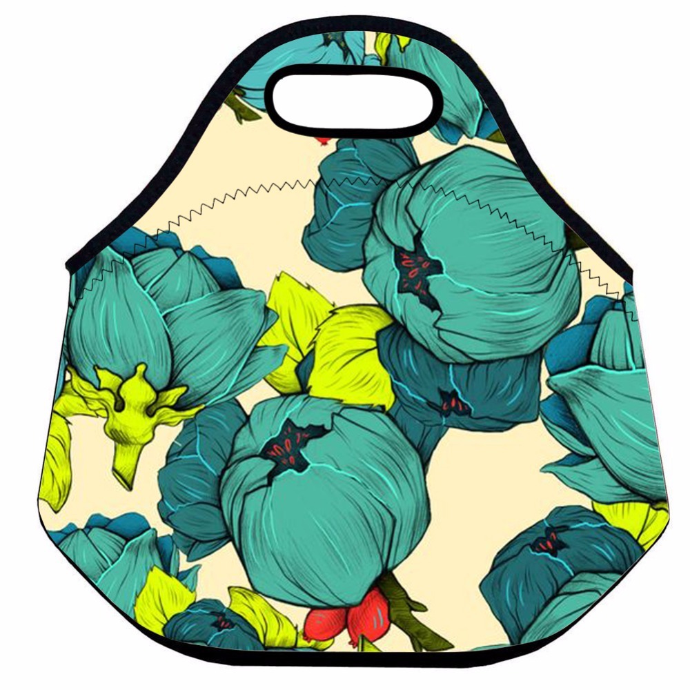 Green Flower Lunch Bag for Women,Kids Insulated Lunch Bag,Neoprene Thermal Lunch Bag,Cute Picnic Bag,School Lunch Tote