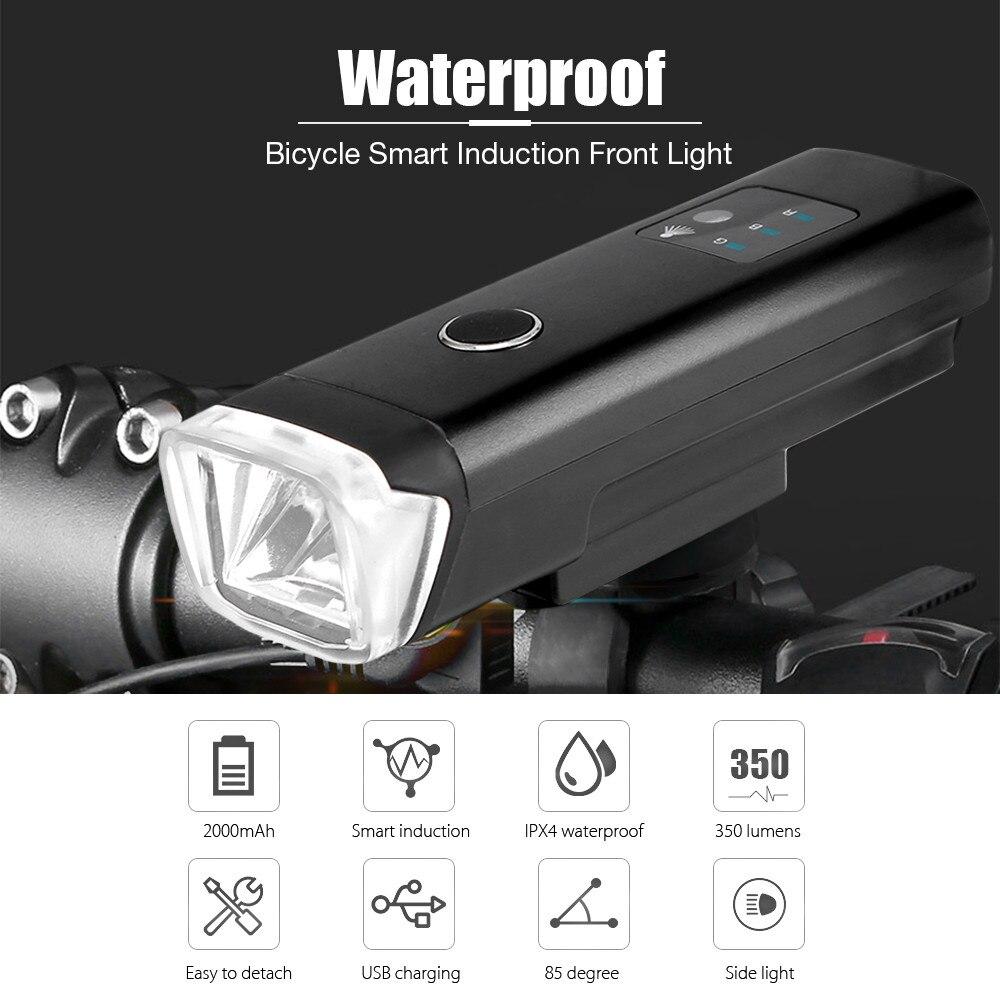 USB Recarregável À Prova D' Água MTB Mountain Bike Bicicleta LED de Bicicleta Luz Da Frente Da Bicicleta Led Ciclismo Luz Inteligente Indução Lanterna
