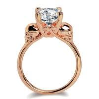 Fashion Skull Round White Zircon Rose White Gold Color Women Wedding Engagement Ring