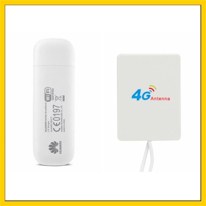 E8372 150 Mbps 4G LTE Wifi Modem E8372h-153 + antenne amplificateur de Signal 4G avec câble 2 M double connecteur TS9