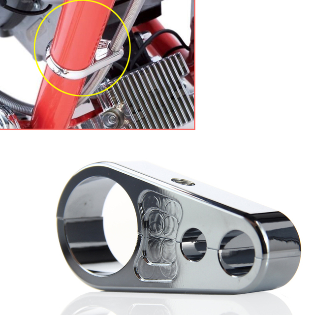 1pc Chrome Alloy Motorcycle Brake Clutch Cable Wire Clamp Clip 25mm ...