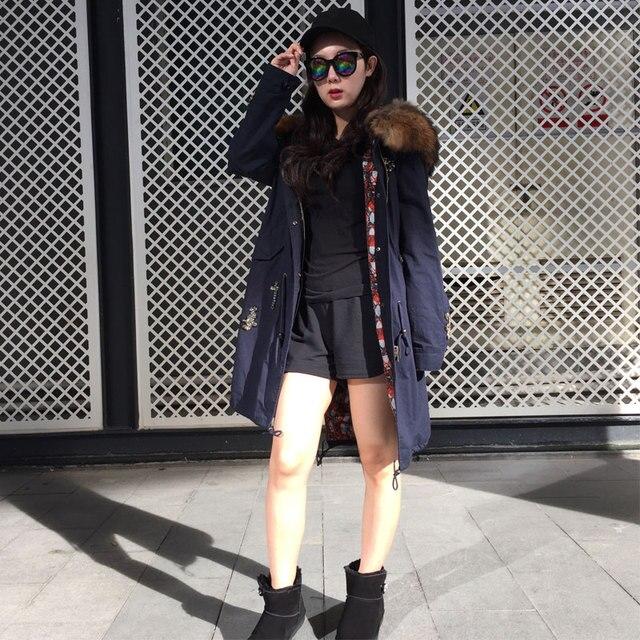 56c39fe776 Ternch manteau longue veste pour dames vêtements d'hiver, Parka bleu avec  capuche naturelle