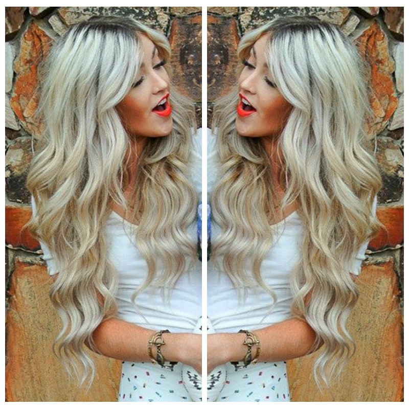 ФОТО 2016 Sexy style blonde wavy synthetic lace front wig 18-26