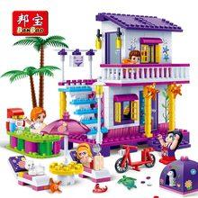 BanBao Girls Building Block Villa Ház Tengerparti Tengerparti Tégla Oktatási Modell Játék Gyerekek Gyermekbarát Ajándék 6138