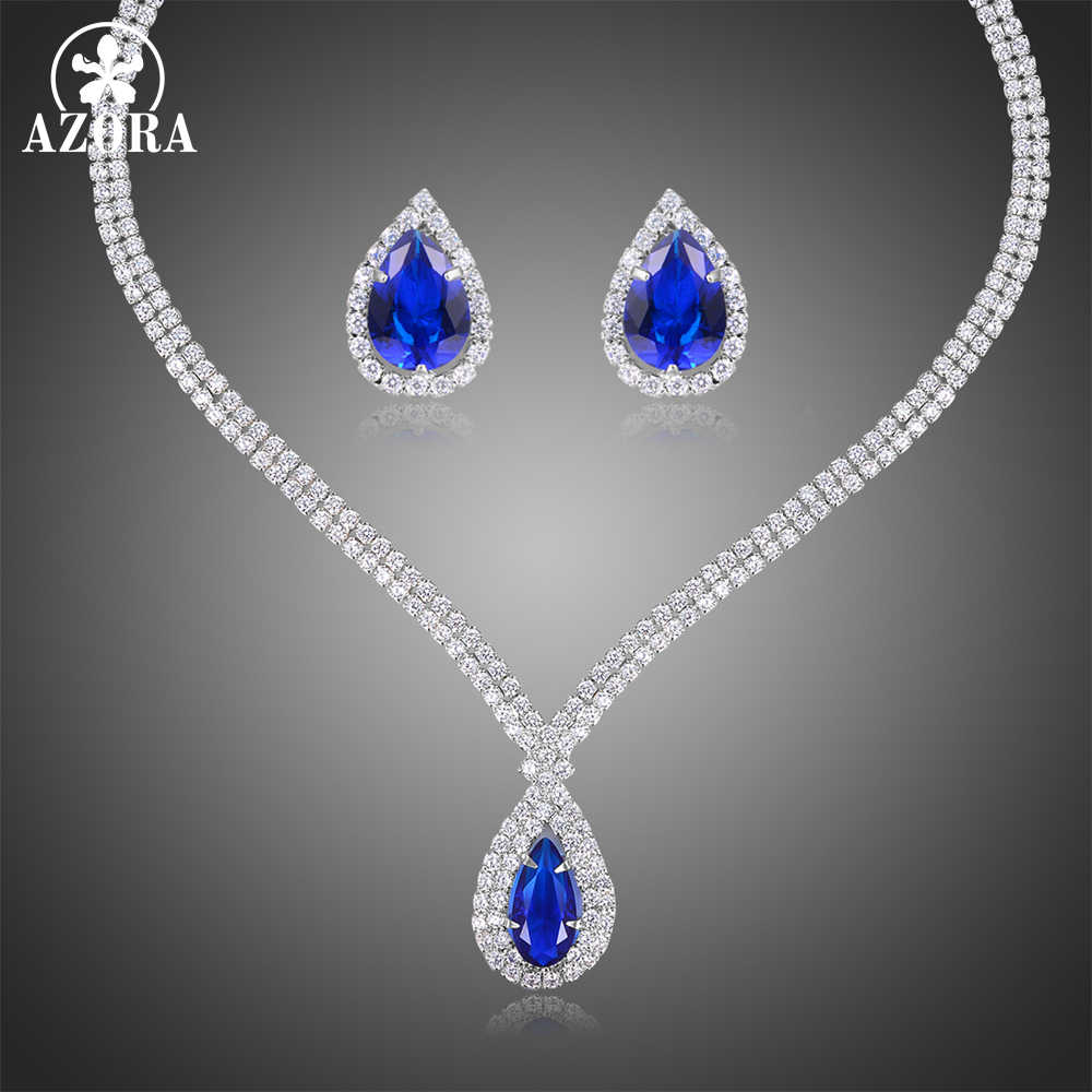 AZORA הכי חדש יוקרה Sparking מבריק כחול מעוקב Zirconia שרשרת עגילי חתונה כלה תכשיטי סט שמלת אביזרי TG0272