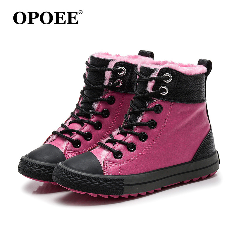 0985dca420b US $19.43 28% OFF|Winter Rubber Girls Boots New Fashion Warm Children Shoes  Girls Boys Leather Plush Platform Flat Sneakers Kids Boots 25 38-in Boots  ...