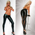 Womens Sexy Black PVC Leggings Goth Fetish Faux Leather Lace Up Pants Cool Punk Rock Bright Light Leather Bandages Nightclubs