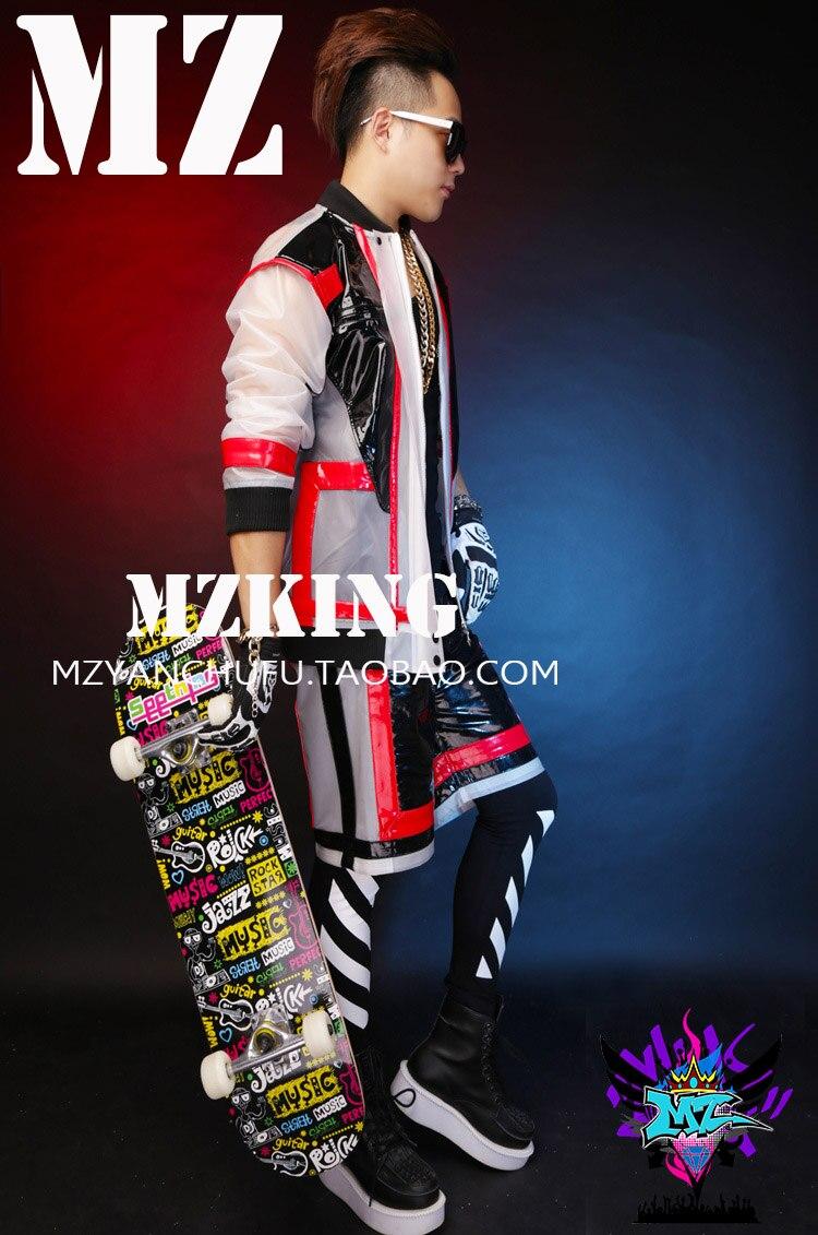 Épissage Coat Europe Hommes Givré Robe Costumes Noir shorts En Plastique Spectacle Bigbang Et Les Américain Chanteurs Vêtements Rouge 2015 Gd Scène gxHCwdq6C