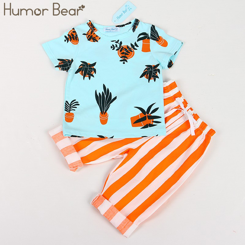 Humor Bear Boys Clothing Sets Brand Boys Clothes Summer Fashion Style T-Shirts+Stripe Pant 2PCS Boys Clothes