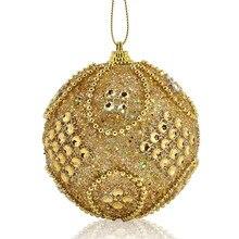 Блестящие 8 см шары для рождественской елки, золотые украшения для рождественской елки, рождественские украшения, вечерние, свадебные украшения для дома, 18 октября