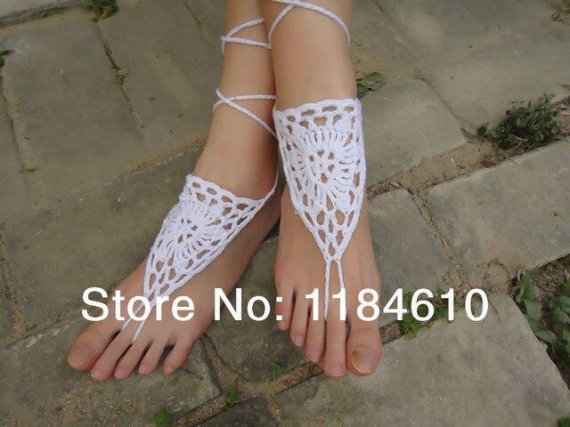 cfca23c18a9b White Bridal Sandals Beach Wedding Shoes Crochet barefoot Sandals  Bridesmaid Gifts