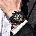 Модные спортивные часы с хронографом для мужчин с сетчатым ремешком  водонепроницаемые Роскошные Кварцевые часы Orologio da uomo  деловые мужские ...