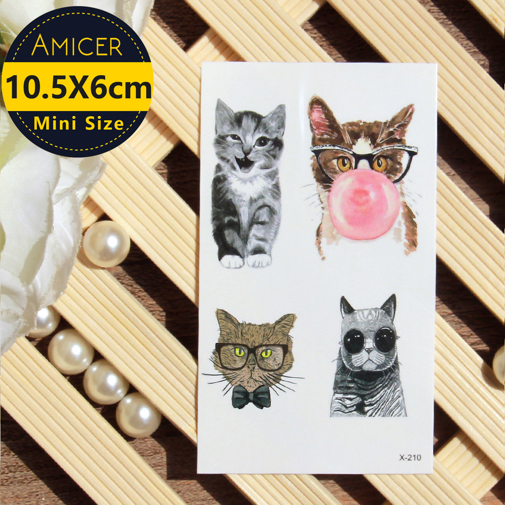 Waterproof Temporary 3d Tattoos sticker on body art color Cat tattoo fake glitter tattoo flash women tattoo for girl