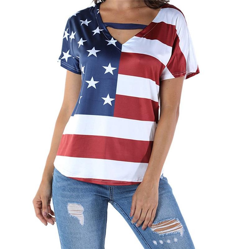 2019 Women Tshirt Plus Size Loose Star Stripe USA Flag America T-Shirt Top Tee Shirt Femme Shirts Women Poleras de mujer moda