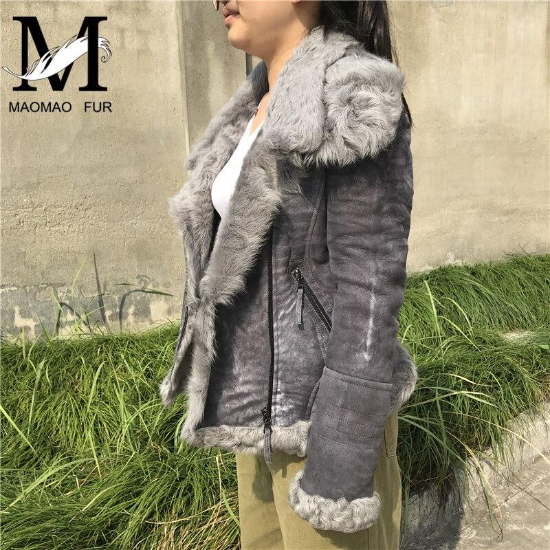 Manteaux De Laine Manteau En D'agneau Véritable Naturel Femelle Courtes Vestes Style Grey Mouton Hiver Cuir Peau Femmes Fourrure ZiPukX