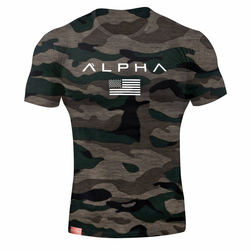 Men Fashion Casual Camouflage   t     shirt   Gyms Fitness Bodybuilding   T  -  shirts   Male Short sleeves Tees Tops Summer Crossfit Clothing