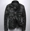 2016 Men's M65 leather jacket stand collar cowskin Slim motorcycle genuine leather jacket men coats jaqueta de couro masculina