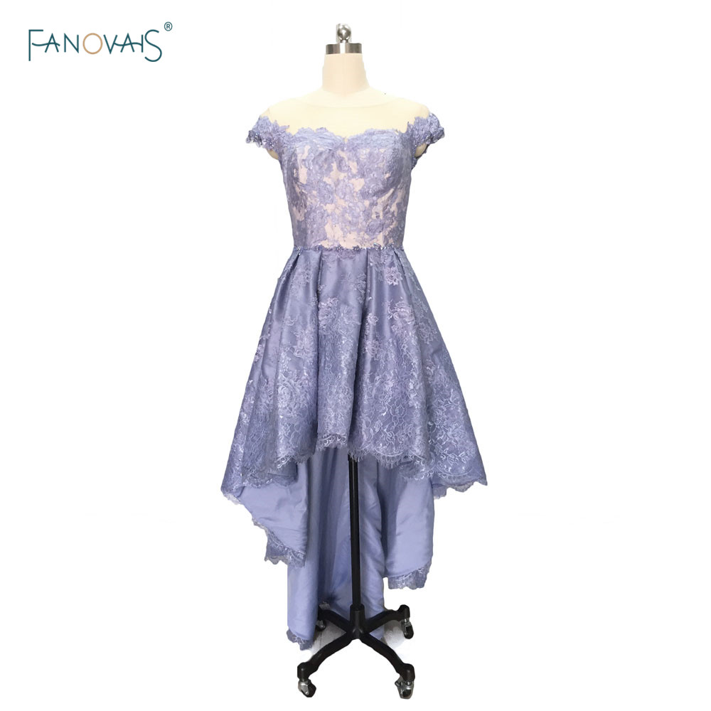 Sexy cocktail dresses Lace Sheer Back Blue Purple Prom dresses formal gowns vestido de festa curto ASCK03